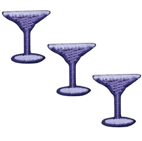 Margarita Martini Cocktail Applique Patch - Purple (3-Pack, Small, Iron on)