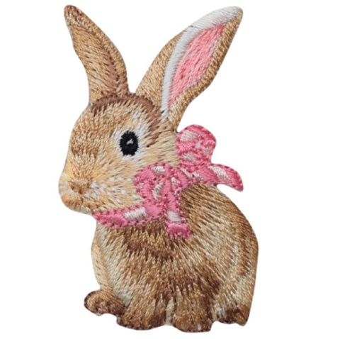 "Bunny Rabbit Applique Patch - Baby Cottontail, Pink Bow 2-3/8"" (Iron on)"