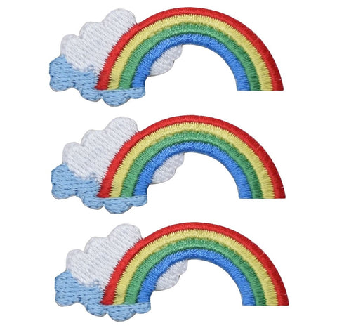 Rainbow with Clouds Patch Applique (3-Pack, Small, Iron on)