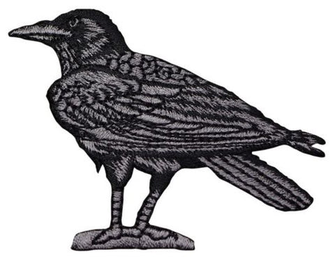 "Raven Applique Patch - Bird Facing Left 3"" (Iron on)"