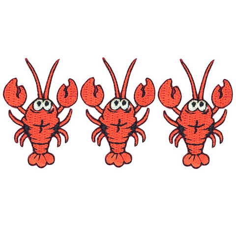 "Red Lobster Applique Patch - Crawfish, Seafood Badge 2"" (3-Pack, Iron on)"
