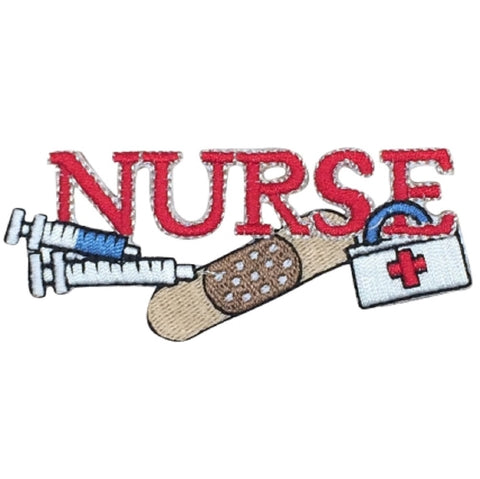 "Nurse Applique Patch - Medical Tools, First Aid Badge 3.5"" (Iron on)"