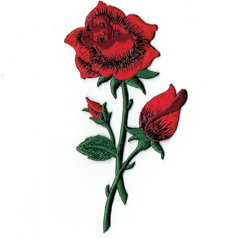 "Red Roses Applique Patch - Long Stem and Flowers 4.75"" (Iron on)"