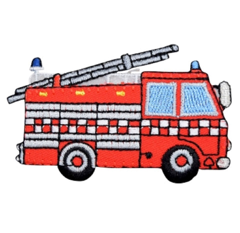 "Fire Truck Applique Patch - Firefighter, Fire Engine Badge 3"" (Iron on)"