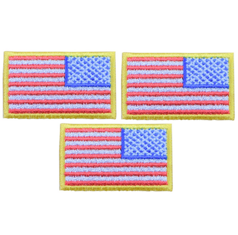 American Flag Patch - Reverse United States of America USA (3-Pack, Small, Iron on)