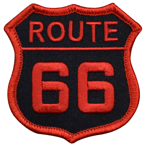 "Route 66 Patch - Red/Black Rt. 66 Badge 2.5"" (Iron on)"