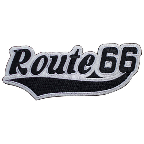 "Route 66 Patch - Black/White Rt. 66 Script Badge 4-7/8"" (Iron on)"