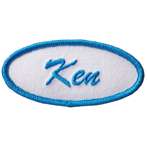 "Ken Patch - Blue, White 3"" (Iron On)"
