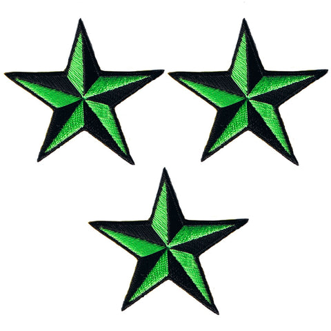 "Nautical Star Applique Patch - Green/Black Tattoo Badge 2"" (3-Pack, Iron on)"