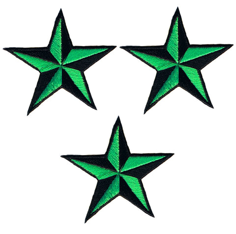 "Nautical Star Applique Patch - Neon Green/Black Tattoo Badge 2"" (3-Pack, Iron on)"