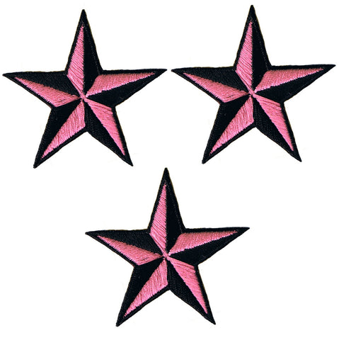 "Nautical Star Applique Patch - Pink Black Tattoo Badge 2"" (3-Pack, Iron on)"