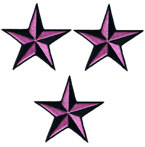 "Nautical Star Applique Patch - Neon Purple Tattoo Badge 2"" (3-Pack, Iron on)"
