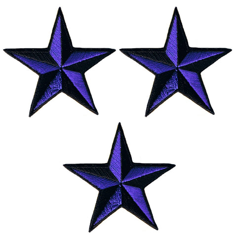 "Nautical Star Applique Patch - Purple Black Tattoo Badge 2"" (3-Pack, Iron on)"