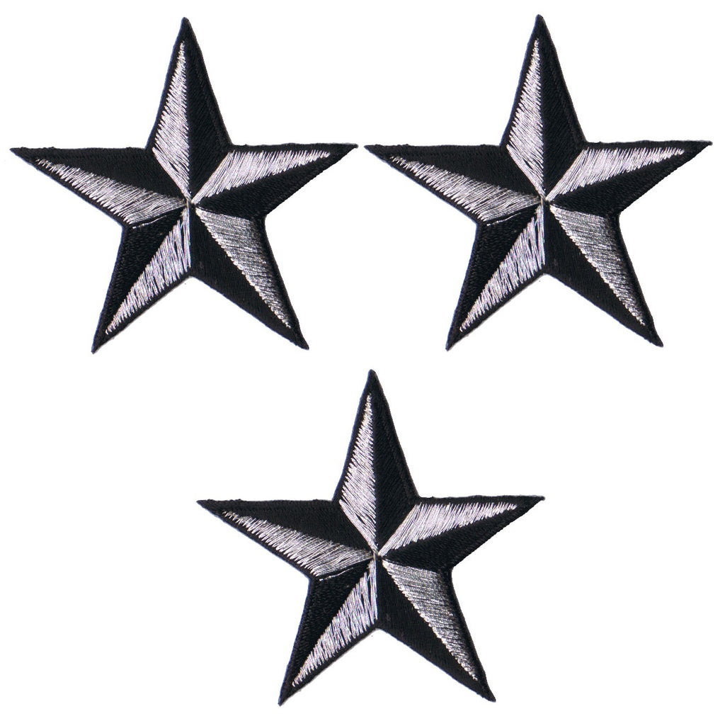2 INCH Teal Black Nautical Star Patch Navigation Embroidered Iron on Applique