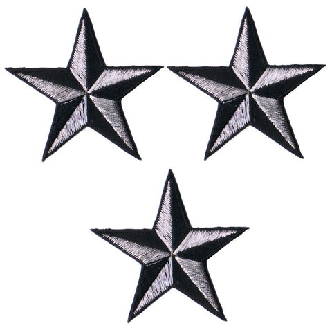 "Nautical Star Applique Patch - Silver Black Tattoo Badge 2"" (3-Pack, Iron on)"