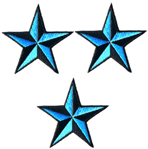 "Nautical Star Applique Patch - Teal Black Tattoo Badge 2"" (3-Pack, Iron on)"