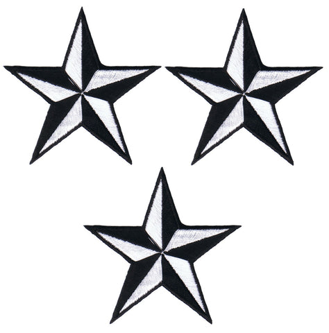 "Nautical Star Applique Patch - White Black Tattoo Badge 2"" (3-Pack, Iron on)"