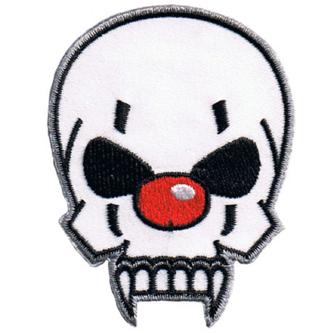 "Skull Clown Applique Patch - Red Nose and Fangs 2-5/8"" (Iron on)"