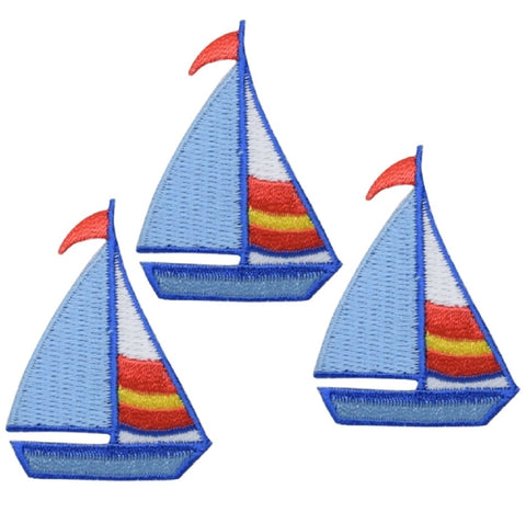 "Sailboat Applique Patch - Sailing, Boat, Nautical Badge 2"" (3-Pack, Iron on)"
