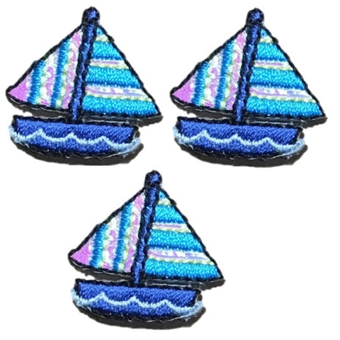 Sailboat Applique Patch - Shimmery, Sailing Badge (3-Pack, Small, Iron on)