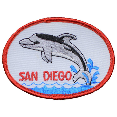 "San Diego Patch - California, Dolphins, Beach Badge 3.5"" (Iron on)"