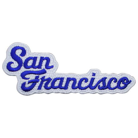 "San Francisco Patch - California, Blue/White SF Script Badge 4-5/8"" (Iron on)"