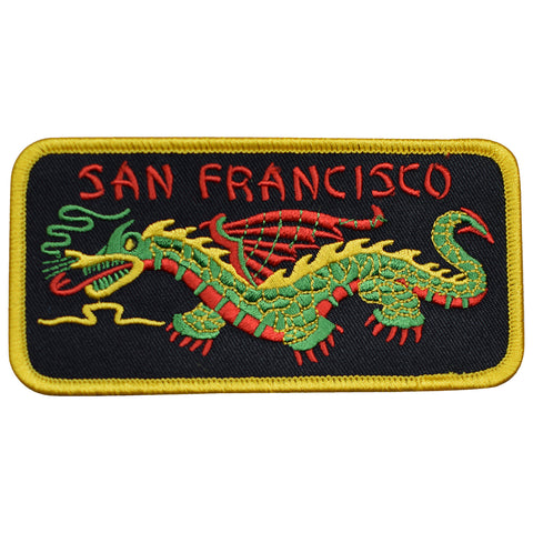 "San Francisco Patch - Chinatown, California, Chinese Dragon 4-7/8"" (Iron on)"