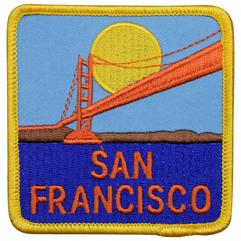 "San Francisco Patch - California, Golden Gate Bridge, Sunset 3"" (Iron on)"