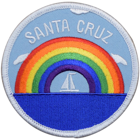 "Santa Cruz Patch - California, Sail Boat, Rainbow, Sailing Badge 3"" (Iron on)"