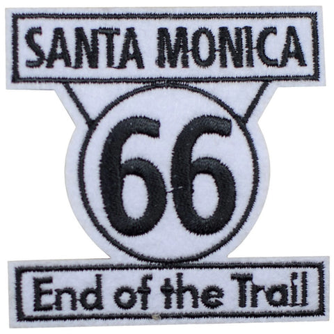 "Santa Monica Route 66 Patch - End of the Trail, California Badge 2.5"" (Iron on)"