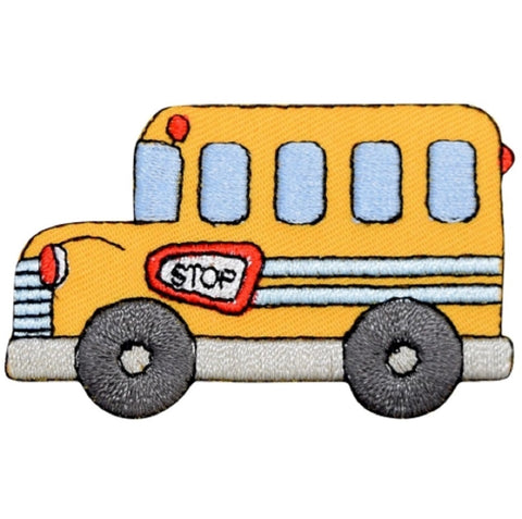 "School Bus Applique Patch - Education Badge 2-3/8"" (Iron on)"