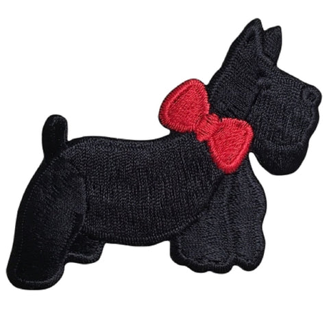 "Scottie Applique Patch - Black Dog, Red Bow, Puppy 3"" (Iron on)"