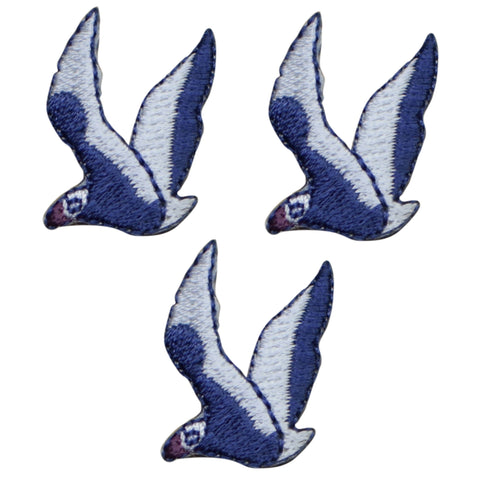 "Mini Seagull Applique Patch - Ocean, Coastal Bird Badge 1-1/8"" (3-Pack, Iron on)"