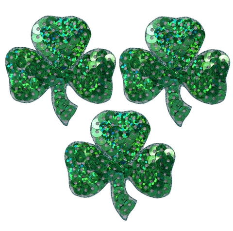 "Shamrock Applique Patch - Sequin, Clover, Good Luck Badge 1.5"" (3-Pack, Iron on)"