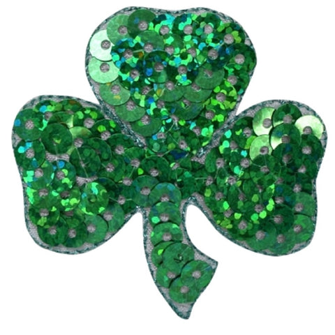 "Shamrock Applique Patch - Sequin, Clover, Good Luck Badge 2"" (Iron on)"