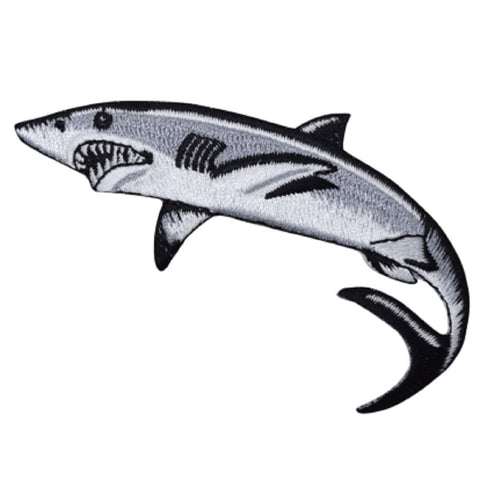 "Shark Applique Patch - Great White Shark, Mackerel Badge 3-3/8"" (Iron on)"