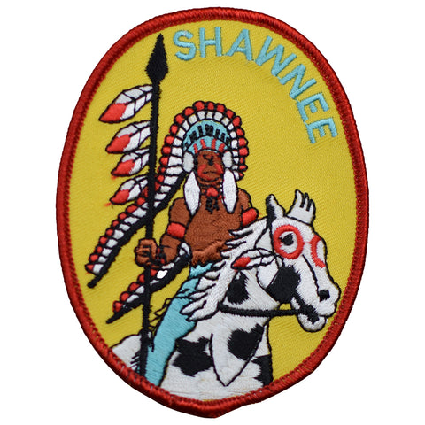 "Shawnee Patch - Native American, Indian, Headdress, Horse 3-7/8"" (Iron on)"