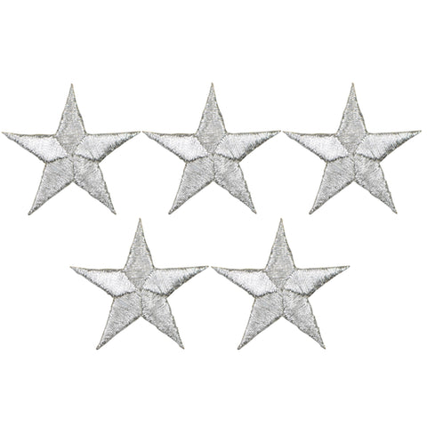 "Star Applique Patch - Silver 1.5"" (5-Pack, Iron on)"