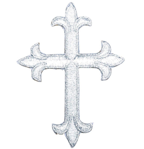 "Cross Applique Patch - Silver, Christian, Jesus Badge 4"" (Iron on)"