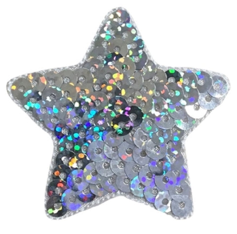 "Sequin Star Applique Patch - Silver 2"" (Iron on)"