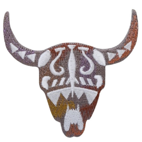 "Bull Skull Applique Patch - Southwest, Cow, Western Badge 2.75"" (Iron on)"