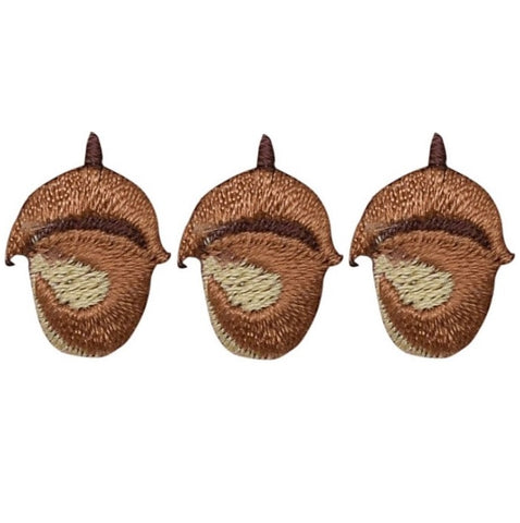 "Acorn Nut Applique Patch 7/8"" (3-Pack, Iron on)"