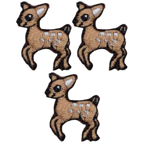 "Mini Deer Fawn Applique Patch - Baby Deer Badge 1"" (3-Pack, Iron on)"