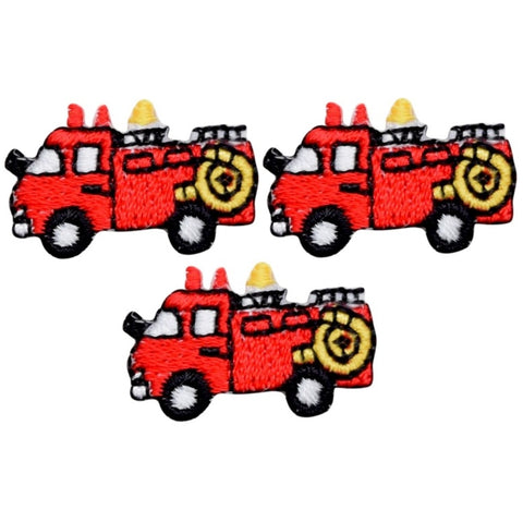 "Mini Fire Truck Applique Patch - Firetruck, Firefighter Badge 1"" (Iron on)"