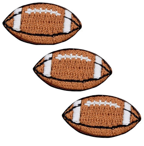 "Mini Football Applique Patch - Sports Ball Badge 1-1/8"" (3-Pack, Iron on)"