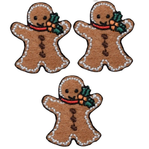 "Mini Gingerbread Man Applique Patch - Christmas Cookie 1-1/8"" (3-Pack, Iron on)"