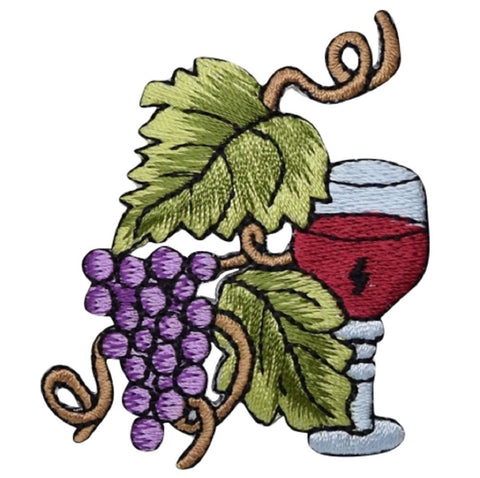 "Grapes and Wine Applique Patch - Vineyard, Winery Badge 2-3/8"" (Iron on)"