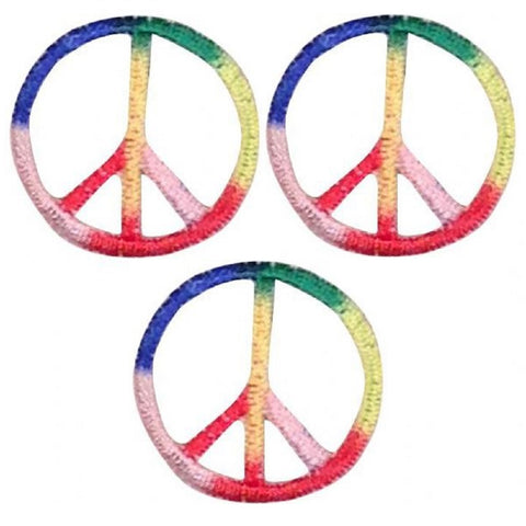 "Mini Peace Sign Patch Applique - Rainbow, Multi Color 1"" (3-Pack, Iron on)"