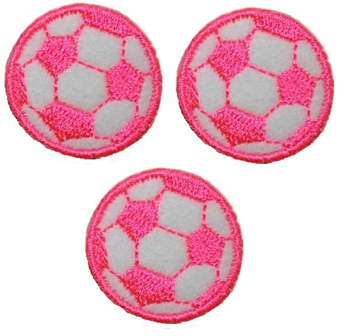 "Neon Pink Soccer Ball Futbol Applique Patch - 1-1/8"", Small (3-Pack, Iron on)"