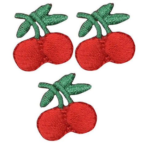 Cherry Berries Applique Patch (3-Pack, Mini, Iron on)